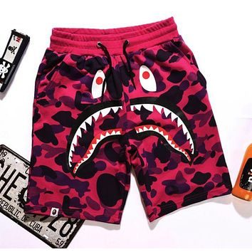 BAPE AAPE Trending Women Men Stylish Shark Mouth Print Purple Camouflage Sport Beach Shorts Pants(3-Color) I/A