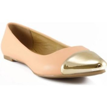 City Classified Rocker Gold Metal Toe Cap Slip On Classy Pointed Toe Ballet Flat PEACH (9)