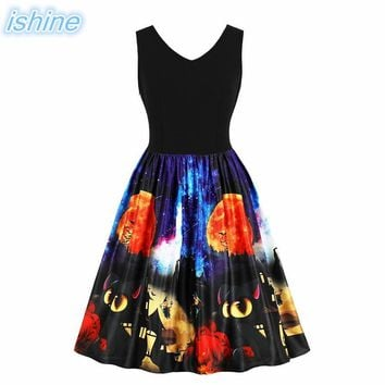 Retro Hepburn Style Halloween Moon Bat Print Dress Women Pumpkin Printed Vintage A-Line Dress Retro Rockabilly Robe Vestidos