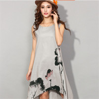 Women Dress Summer Vintage Sleeveless White Women Dresses Casual Cotton Linen Dress Lotus Printing o-neck