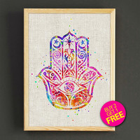 Hamsa Hand Watercolor Art Print Hamsa Pattern Poster House Wear Wall Decor Gift Linen Print - Buy 2 Get 1 FREE - 400s2g