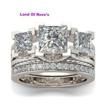Engagement ring Princess cut Three-stone AAAAA Zircon Cz 925 Sterling  Silver wedding Band ring 555c54f593