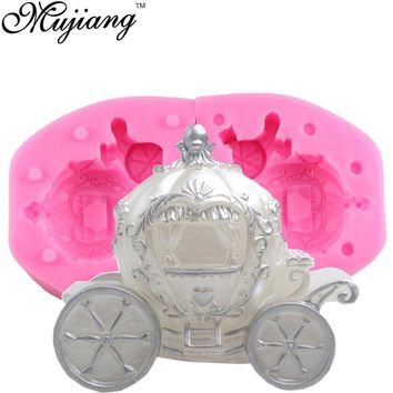 3D Pumpkin Carriage Silicone Candle Mold Resin Clay Soap Molds Fondant Wedding Cake Decorating Tools Chocolate Candy Mould