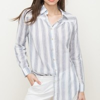 Women's Button Down Striped Blouse