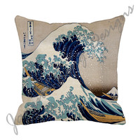 "18"" Decorative Throw Pillow Cover 18x18  Great Wave Japanese Art 18 inch Pillow Cover Hokusai Asian blue beige yellow"