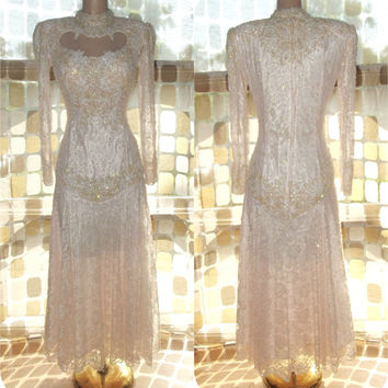 Vintage 80s AMAZING Cutout Pearl Beaded Lace Trophy Dress S/M PINK Victorian Wedding Cocktail Gown