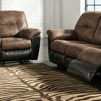 Ashley Furniture 65202-88-94 2 pc Follett collection coffee fabric upholstered sofa and love seat set with recliners