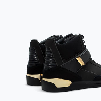 aa53373ee45 Hi-top sneaker with metal detail from ZARA