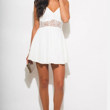 IVORY WHITE BUSTIER CUT OUT RACER BACK BOHO MINI SUN DRESS