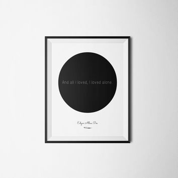 Edgar Allan Poe Poster - Literary Quote - Typography - Circle Art Print - Word Art  - Love Quote - Minimalist Poster Art - Literary Poster