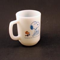 Vintage Snoopy Fire King Mug with Woodstock