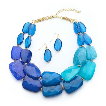 Blue Tones Chunky Statement Necklace & Earrings for Prom or Bridesmaids