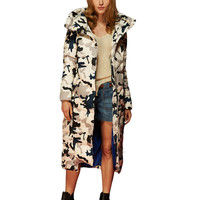 European Camouflage jacket women winter coat  thick hooded down jacket women long section of large size new camouflage