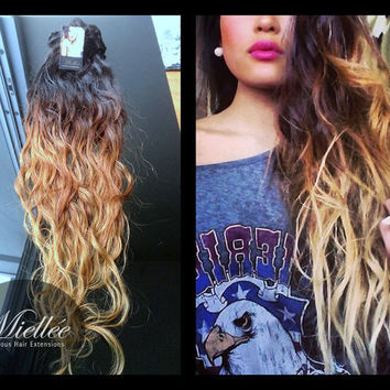 "26"" WILDFIRE OMBRE / Dark Roots / Brazilian 100% Human Hair / Loose Wave Texture  / Weft Clip In or Tape In"