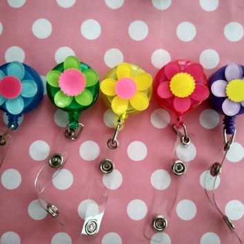 FLOWER   RETRACTABLE ID Badge Holder Reel Nurse Teacher Work Staff ID Holder Gift  10pcs/lot
