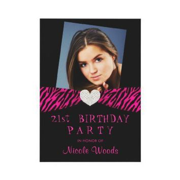 21st Birthday Party Photo Invitations - Pink Zebra from Zazzle.com