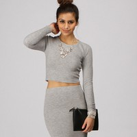 Sale-gray Fitted Crop Top