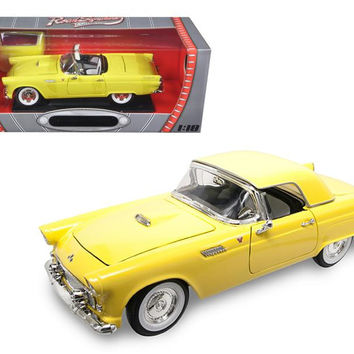 1955 Ford Thunderbird Yellow 1-18 Diecast Model Car by Road Signature