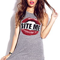 FOREVER 21 Bite Me Muscle Tee Heather Grey/Red Large