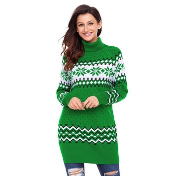 Green Christmas Snowflake Knit Turtleneck Jumper