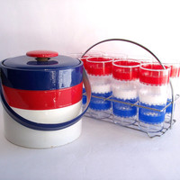 vintage 4th of July Barware Set. Red White Blue Glasses Ice Bucket and Caddy