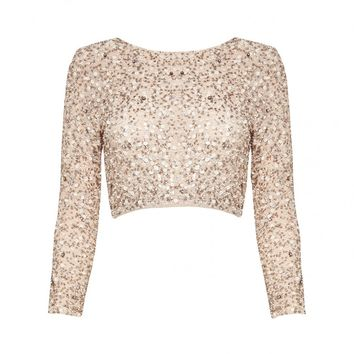 alice + olivia | LACEY EMBELLISHED CROP TOP