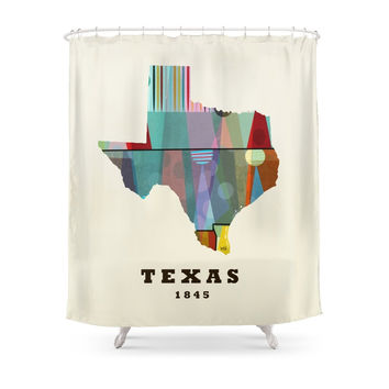 Society6 Texas State Map Modern Shower Curtains