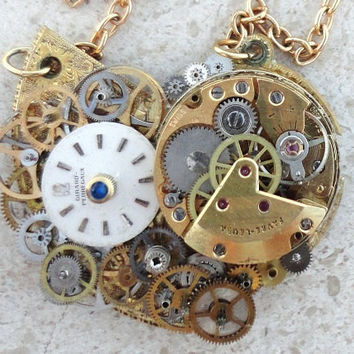 SteamPunk Watch parts Necklace by CulturalDiversion on Etsy