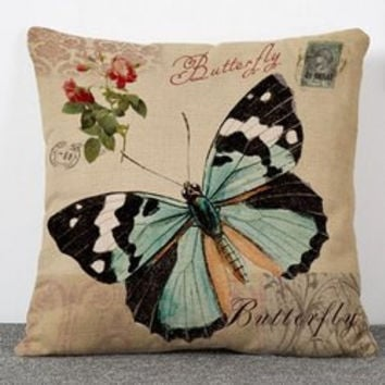 Exquisite Flowers and Butterfly Pattern Flax Pillow Caseï¼^Without Pillow Innerï¼?
