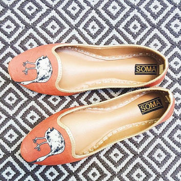 Orange loafers, handmade loafers, leather loafers, loafers, women loafers, slip ons, orange flats, leather flats, animal print, summer flats