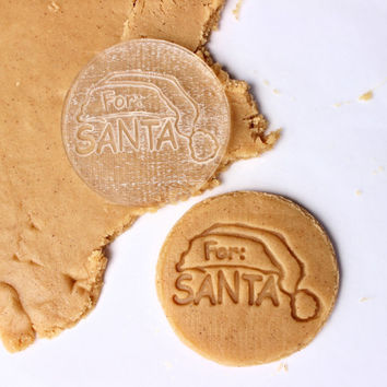 For Santa Cookie Stamp, Embosses Design into Shortbread / Cut out cookies, Santa Cookie Plate, Christmas Eve,Baking, Christmas Cookie Cutter