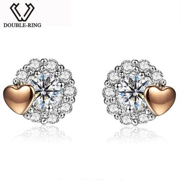 DOUBLE-RING 18K White Gold Earrings Round 0.195ct Real Diamond Heart Fine Jewelry Wedding Love Gift Bijouterie CASE10055KA-7
