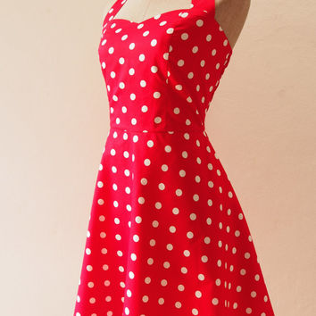 Ready to Ship - Red Retro Rockabilly Dress, Red Polka Dot Dress, Halter Swing Skirt, Red Summer Dress, Red Party Dress, S,M,L,XL