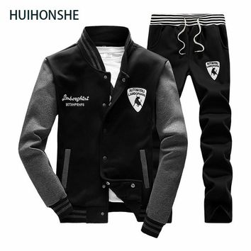 Sweatshirt Men Tracksuit Set Sweat New 2018 Brand Spring&Autumn 2PCS Stand Collar Fleece Patchwork Casual Mens Suits Hoodie Men