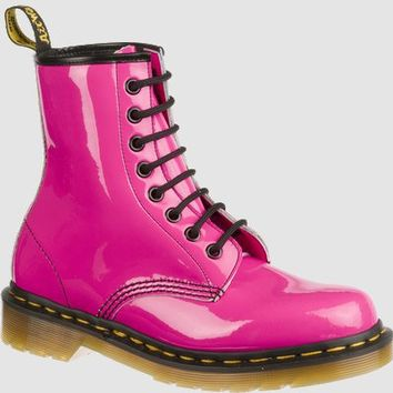 Dr Martens 1460 W Boot HOT PINK PATENT LAMPER - Doc Martens Boots and Shoes