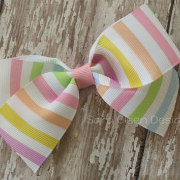 Large Classic Hairbow, Pastel Rainbow Striped, Pink Purple Blue, Simple Bows, 4.5 Inch Hairbow, Hair Clip, Toddler Hairbow, Girls Hairbows