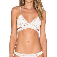 Wrap Triangle Bikini Top in Natural