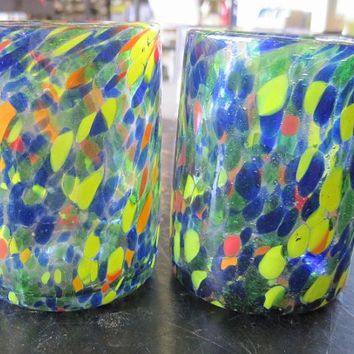 Hand Blown Murano Glass Flat Tumblers Set of 2 Red Blue and Yellow Specks
