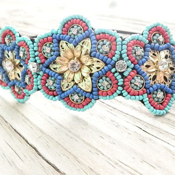 Boho Beaded Headband, beaded Hair Bands , Stretchy headband, Music Festival, Cute Headbands, Seed beaded FLOWER headband
