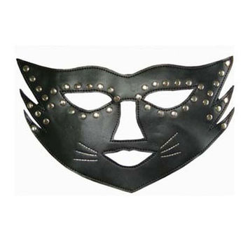 Halloween Masquerade Sexy Lady Rivet Black Leather Mask hollow out Catwoman Batman veil 12120 (Size: M, Color: Black) = 1927821124