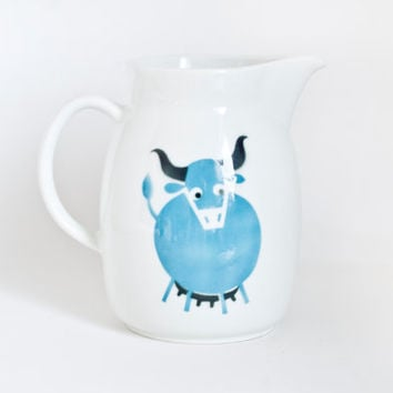 Vintage Arabia Finland Turquoise Cow Pitcher, Large Size Bull Print Jug, Mid Century Kitchen, Finnish Pottery 8 inch