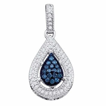 10kt White Gold Women's Round Blue Color Enhanced Diamond Teardrop Cluster Pendant 1-5 Cttw - FREE Shipping (US/CAN)