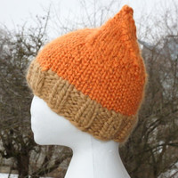 Chunky knit orange elf beanie women teen pixie hat