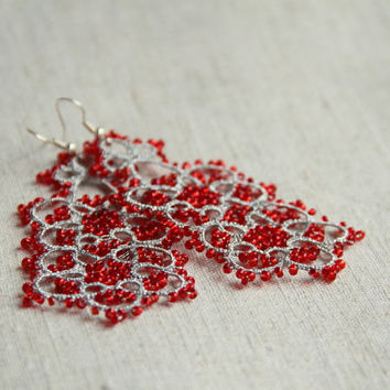 """Silver and red earrings """"discretion"""", lace, chandelier earrings, Christmas earrings, winter fashion, handmade by TheScarletLace"""
