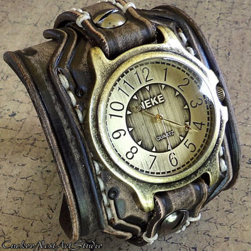 Leather Cuff, Wrist Watch, Men's watch, Bracelet Watch, Watch Cuff, Mens Gift, Antique black