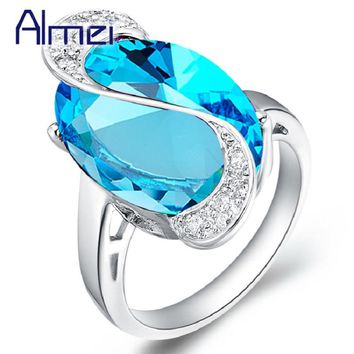 Almei 2017 Wedding Rings for Women Blue Green Rainbow Round Crystal Silver Color Ring Female Jewelry With Stone Fashion J448