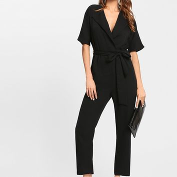 Notch Collar Self Belted Solid Jumpsuit