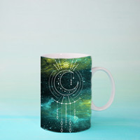 Live by the Moon Mug -  Boho Celestial Mug | Greem Coffee Mug Gift | Unique Mug | Geometric Mug | Birthday | Mother's Day | Moon Phase