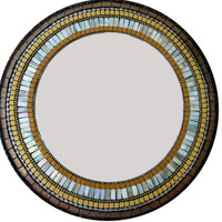 Mosaic Mirror // Round Wall Mirror // Brown and Mustard Yellow // Earth Tones // Mixed Media Mosaic