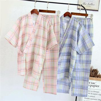 Japanese Pajamas Sets Yukata Simple Kimono Cotton Girl Cute Loose Nightgown Bathrobe Leisure Wear Sleepwear Steam SPA Homewear